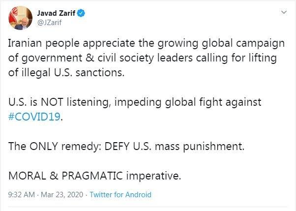 ظریف: آمریکا مانعی در مسیر مبارزه با کرونا است